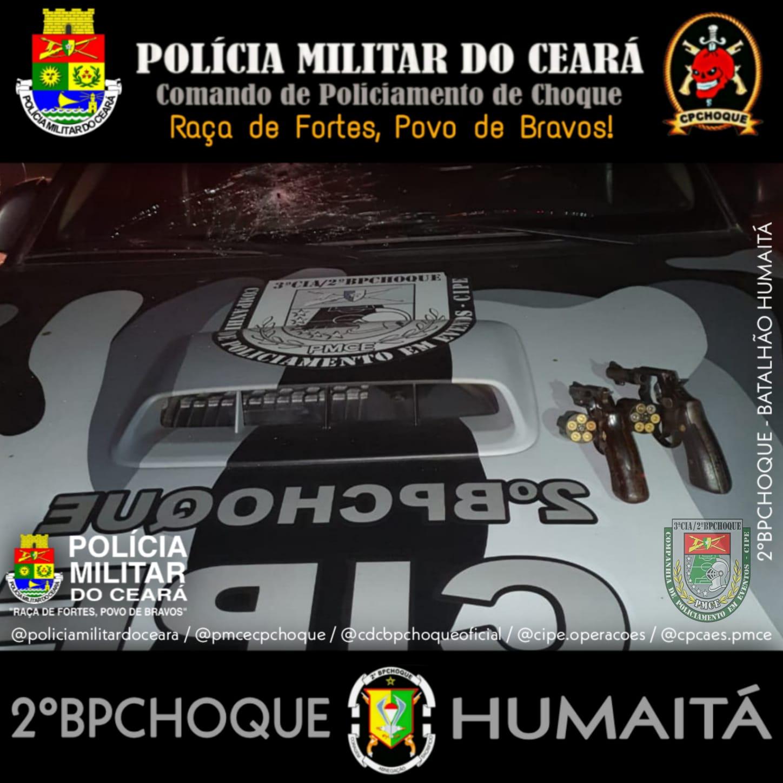CIPE da PMCE prende dois indivíduos e apreende duas armas de fogo, após perseguição policial e tombamento de veículo, em Itaitinga-CE