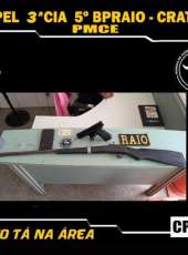 CPRaio apreende adolescente com carabina e simulacro de arma em Ipueiras-CE