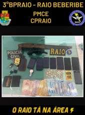 PMCE e PC prendem três homens e apreendem duas armas de fogo em Beberibe-CE
