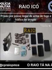 Arma de fogo e drogas são apreendidas pela PMCE em posse de suspeito em Icó-CE